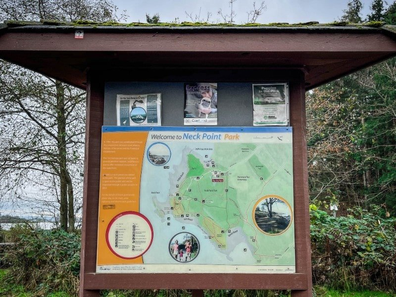 park trail sign in popular nanaimo regional park